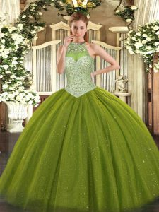 Custom Made Beading Quinceanera Dress Olive Green Lace Up Sleeveless Floor Length