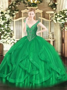 V-neck Sleeveless Tulle Quinceanera Gowns Beading and Ruffles Lace Up