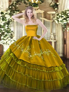 Brown Zipper 15 Quinceanera Dress Embroidery and Ruffled Layers Sleeveless Floor Length