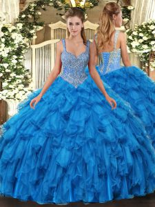 Pretty Blue Organza Lace Up Quinceanera Gown Sleeveless Floor Length Beading and Ruffles