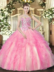 Edgy Ball Gowns Quince Ball Gowns Rose Pink Sweetheart Tulle Sleeveless Floor Length Lace Up