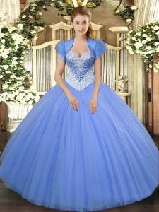Captivating Floor Length Ball Gowns Sleeveless Baby Blue Quinceanera Gowns Lace Up