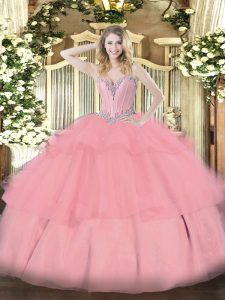 Trendy Sleeveless Tulle Floor Length Lace Up Quince Ball Gowns in Baby Pink with Beading and Ruffled Layers