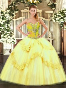 Yellow Ball Gowns Sweetheart Sleeveless Tulle Floor Length Lace Up Beading and Ruffles Sweet 16 Quinceanera Dress