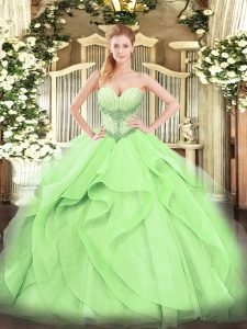 High Class Tulle Sweetheart Sleeveless Lace Up Beading and Ruffles Sweet 16 Quinceanera Dress in Yellow Green