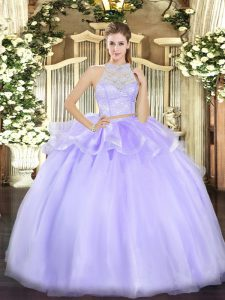 Custom Made Lavender Two Pieces Scoop Sleeveless Tulle Floor Length Zipper Lace Sweet 16 Dress