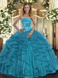 Discount Teal Ball Gown Prom Dress Military Ball and Sweet 16 and Quinceanera with Beading and Ruffles Strapless Sleeveless Lace Up