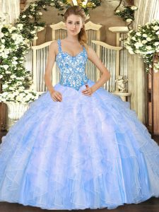 Baby Blue Sleeveless Organza Lace Up Quinceanera Dresses for Sweet 16 and Quinceanera