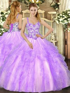 Organza Sleeveless Floor Length Sweet 16 Dresses and Beading and Appliques and Ruffles