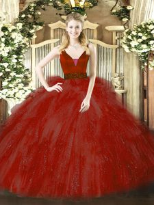 Exquisite Straps Sleeveless Zipper Quinceanera Dresses Wine Red Tulle