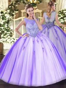 Custom Made Lavender Tulle Zipper Ball Gown Prom Dress Sleeveless Floor Length Beading and Appliques