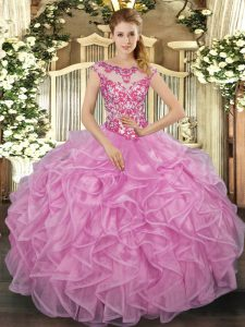 Floor Length Ball Gowns Cap Sleeves Lilac Sweet 16 Dresses Lace Up