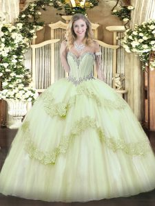 Chic Tulle Sweetheart Sleeveless Lace Up Beading and Appliques Quince Ball Gowns in Yellow Green