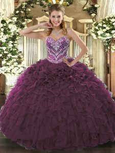 Burgundy Sweetheart Lace Up Beading and Ruffled Layers Sweet 16 Dress Sleeveless