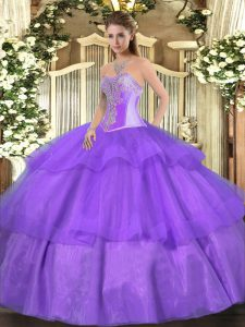 Sweetheart Sleeveless Quinceanera Gowns Floor Length Beading and Ruffled Layers Lavender Tulle