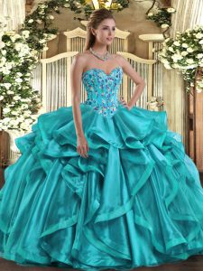 Teal Lace Up Sweetheart Embroidery and Ruffles 15th Birthday Dress Organza Sleeveless