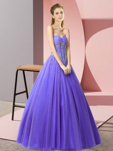 Discount Lavender Tulle Lace Up Dress for Prom Sleeveless Floor Length Beading