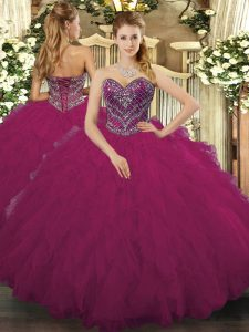Fuchsia Vestidos de Quinceanera Military Ball and Sweet 16 and Quinceanera with Beading and Ruffled Layers Sweetheart Sleeveless Lace Up