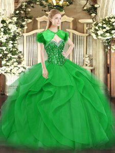 Green Quinceanera Dresses Military Ball and Sweet 16 and Quinceanera with Beading and Ruffles Sweetheart Sleeveless Lace Up