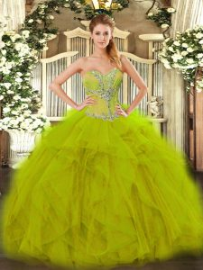 Shining Sweetheart Sleeveless Lace Up Vestidos de Quinceanera Olive Green Organza