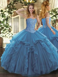 Dazzling Sweetheart Sleeveless Lace Up Quinceanera Dresses Teal Tulle