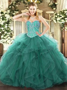 Beading and Ruffles Quince Ball Gowns Turquoise Lace Up Sleeveless Floor Length