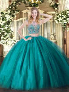 Elegant Beading Quince Ball Gowns Teal Lace Up Sleeveless Floor Length