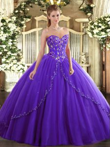 Popular Purple Lace Up Sweetheart Appliques and Embroidery Sweet 16 Dresses Tulle Sleeveless Brush Train