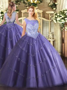 Glittering Floor Length Lace Up Quinceanera Gowns Lavender for Sweet 16 and Quinceanera with Beading