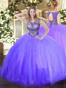 New Style Floor Length Lavender 15 Quinceanera Dress Tulle Sleeveless Beading