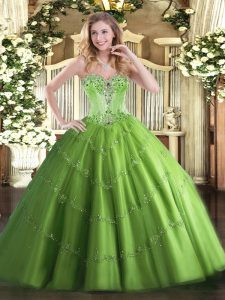 Tulle Lace Up Sweetheart Sleeveless Floor Length Quince Ball Gowns Beading