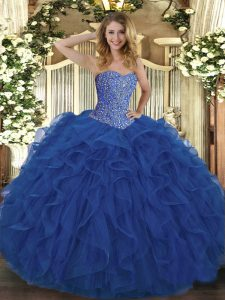 Customized Sweetheart Sleeveless Lace Up Quinceanera Dress Royal Blue Tulle