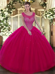 Hot Pink Ball Gowns Tulle Scoop Sleeveless Beading Floor Length Backless 15 Quinceanera Dress
