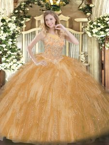 Gold Ball Gowns Beading and Ruffles Sweet 16 Quinceanera Dress Zipper Tulle Sleeveless Floor Length