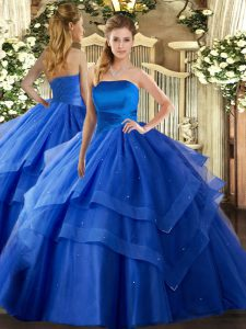 Sleeveless Floor Length Ruffled Layers Lace Up Vestidos de Quinceanera with Royal Blue
