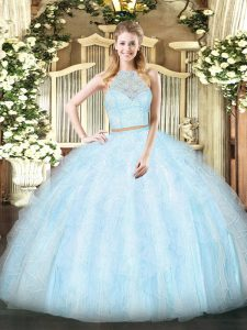 Deluxe Floor Length Two Pieces Sleeveless Light Blue Quince Ball Gowns Zipper