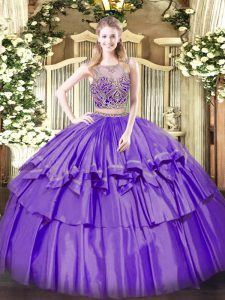 Superior Lavender Lace Up Quinceanera Gowns Beading and Ruffled Layers Sleeveless Floor Length
