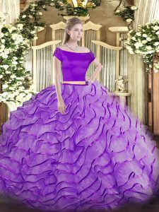 Hot Selling Appliques and Ruffles 15 Quinceanera Dress Lavender Zipper Short Sleeves Brush Train