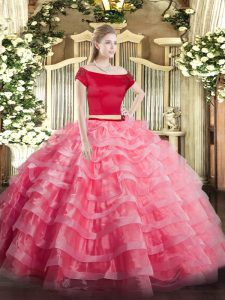 Short Sleeves Floor Length Appliques and Ruffled Layers Zipper Quinceanera Dresses with Watermelon Red