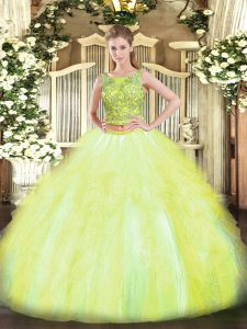 Customized Yellow Green Tulle Lace Up Scoop Sleeveless Floor Length Quince Ball Gowns Beading and Ruffles