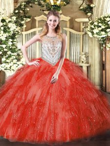 Floor Length Coral Red Quinceanera Gown Tulle Sleeveless Beading and Ruffles