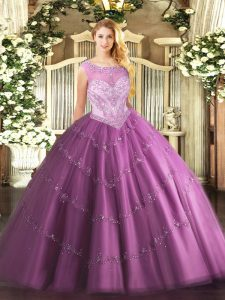 Sleeveless Tulle Floor Length Zipper Sweet 16 Dress in Lilac with Beading
