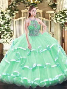 Floor Length Apple Green Sweet 16 Dress Halter Top Sleeveless Lace Up