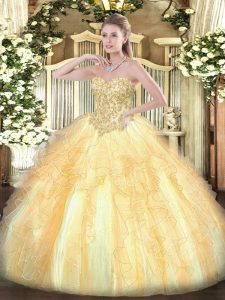 Cheap Champagne Sleeveless Appliques and Ruffles Floor Length Quince Ball Gowns