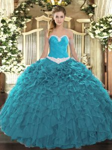 Sweetheart Sleeveless Ball Gown Prom Dress Floor Length Appliques and Ruffles Teal Organza