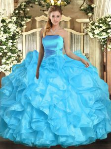 Aqua Blue Sleeveless Floor Length Ruffles Lace Up Quinceanera Gowns