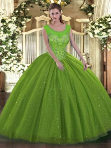 New Style Sleeveless Tulle Backless Quinceanera Gowns for Military Ball and Sweet 16 and Quinceanera