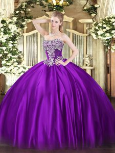 Purple Lace Up 15 Quinceanera Dress Beading Sleeveless Floor Length