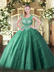 Charming Floor Length Dark Green Quinceanera Dresses Scoop Sleeveless Lace Up