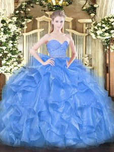 Baby Blue Ball Gowns Organza Sweetheart Sleeveless Beading and Lace and Ruffles Floor Length Zipper Vestidos de Quinceanera